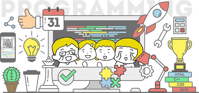 子供と大人、家族で喜ぶプログラミング教室イラスト